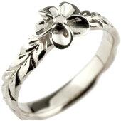 【送料無料】ハワイアンジュエリーリング指輪ホワイトゴールドk18ハワイアンリング地金リング18金k18wgストレート