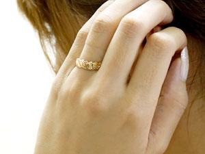 ハワイアンジュエリー ハワイアン ハート リング ダイヤモンド 指輪 イエローゴールドk18 ハワイアンリング 18金 k18yg ダイヤ ストレート 贈り物 誕生日プレゼント ギフト ファッション 妻 嫁 奥さん 女性 彼女 娘 母 祖母 パートナー