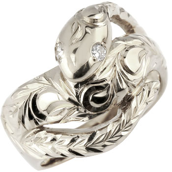 ハワイアンジュエリー 蛇 プラチナ リング ダイヤモンド ダイヤ スネーク 指輪 レディース ハワイアンリング pt900 贈り物 誕生日プレゼント ギフト:ジュエリー工房アトラス