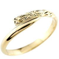 【送料無料】ハワイアンジュエリーイエローゴールドk10リング指輪ハワイアンリングスパイラル地金k10レディース