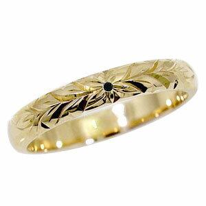 ハワイアンジュエリー リング ブラックダイヤモンド ハワイアンリング イエローゴールドk18 一粒 指輪 18金 k18yg ダイヤ ストレート 贈り物 誕生日プレゼント ギフト ファッション