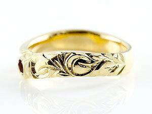 ピンキーリング ハワイアンジュエリー ガーネット イエローゴールドk18リング 指輪 ハワイアンリング スパイラル k18 レディース 1月誕生石 宝石