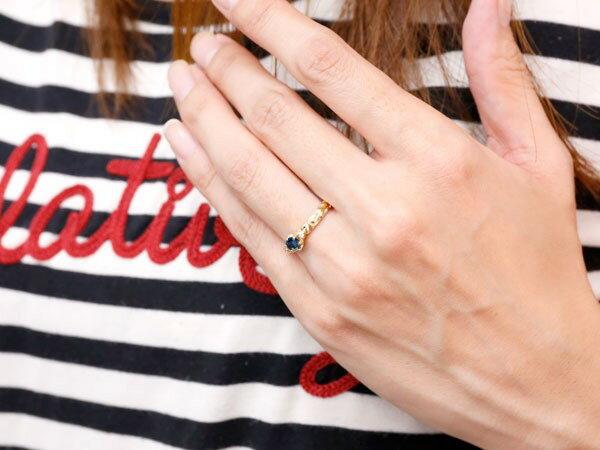 ピンキーリング ハワイアンジュエリー ブルーサファイア リング 一粒 大粒 指輪 9月誕生石 イエローゴールドk18 ハワイアンリング 18金 k18yg ダイヤ ストレート 妻 嫁 奥さん 女性 彼女 娘 母 祖母 パートナー