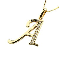 【送料無料】イニシャルネームメンズAネックレスキュービックジルコニアイエローゴールドk18ペンダントアルファベットチェーン人気男性18金