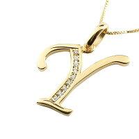 【送料無料】イニシャルネームメンズYネックレスダイヤモンドイエローゴールドk18ペンダントアルファベットチェーン人気男性18金ダイヤ