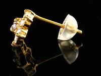【送料無料】片耳ピアスダイヤモンドピンクサファイアピアスフラワー花スタッドピアスイエローゴールドk18レディースダイヤ18金