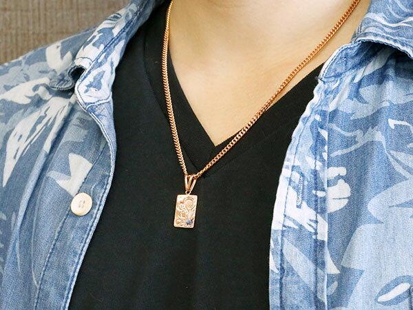メンズ 喜平用 ピンクゴールドk10 ハワイアンジュエリー アイオライト ネックレス ペンダント ハワジュ プレート シンプル 10金 人気 エンゲージリングのお返し