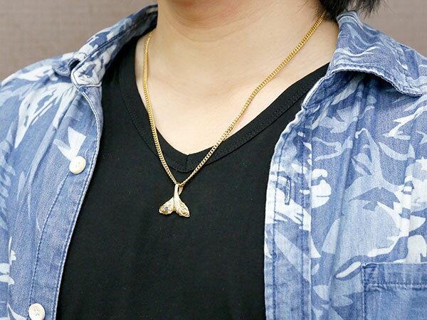 喜平用 メンズ ハワイアンジュエリーホエールテール クジラ 鯨 アクアマリン ネックレス イエローゴールド ペンダント 天然石 3月誕生石 k10 10金 宝石 エンゲージリングのお返し