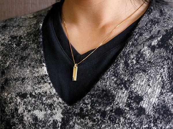メンズ ネックレス イエローゴールドk10 バーネックレス ブラックダイヤモンド  ダイヤ ペンダント 10金 チェーン プレートネックレス ホーニング加工 つや消し エンゲージリングのお返し