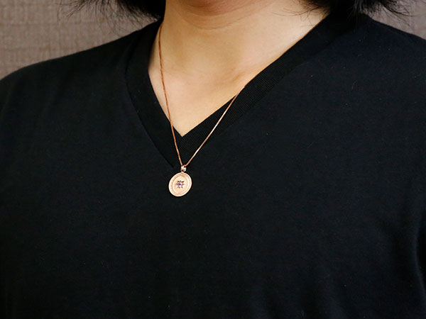 ネックレス メンズ ピンクゴールドk18 ピンクサファイア 一粒 ペンダント コイン プレート 18金 八咫鏡 チェーン 人気