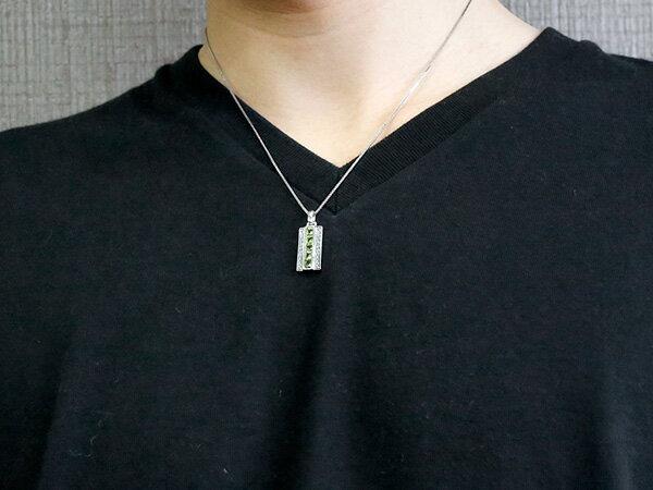 メンズ プラチナネックレス ペリドット キュービックジルコニア バーネックレス ペンダント pt900 チェーン 男性用 人気 宝石