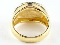 メンズリング人気印台リング地金指輪イエローゴールドk18つや消し18金ピンキーリングストレート男性用