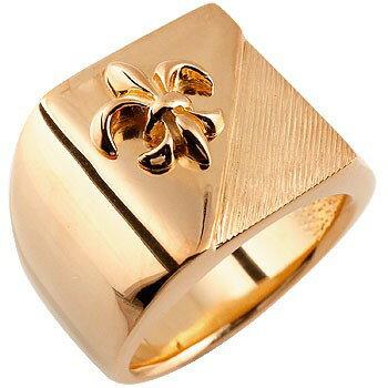 メンズ 印台リング 幅広 指輪 ユリの紋章 ピンクゴールドk18 ピンキーリング 18金ストレート 男性用 贈り物 誕生日プレゼント ギフト エンゲージリングのお返し Xmas Christmas