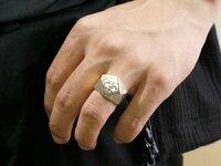 メンズ印台リング幅広指輪ユリの紋章ピンキーリングホワイトゴールドk1818金ストレート男性用
