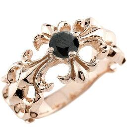 クロス リング ブラックダイヤモンド ピンクゴールドk18 幅広 指輪 ダイヤ ピンキーリング 18金 送料無料 LGBTQ ユニセックス 男女兼用