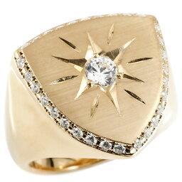 【ポイント10倍】メンズ リング ダイヤモンド ピンクゴールドk10 印台 幅広 指輪 つや消し サテン仕上げ リング ダイヤ 一粒 大粒 ロータリー型 10金 ピンキーリング 送料無料 人気