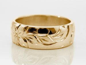 ハワイアンジュエリー メンズ ハワイアンリング 指輪 ピンクゴールドK18 K18PG 18金ストレート 男性用