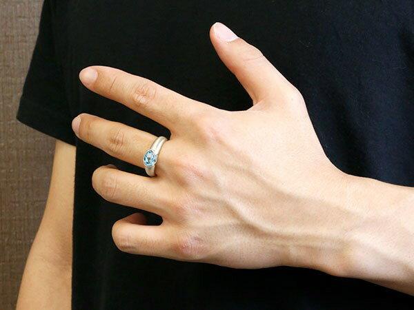 メンズ ピンキーリング プラチナ 大粒 一粒 ブルートパーズ リング ピンキーリング pt900 指輪 婚約指輪 エンゲージリング