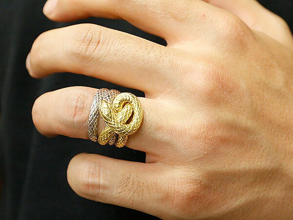 メンズ リング ダイヤモンド 蛇 プラチナ900 イエローゴールドk18 コンビ 幅広 指輪 18金 pt900 男性用 ピンキーリング スネーク ヘビ 人気