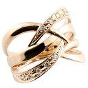 ピンキーリング ダイヤモンド リング 透かし ピンクゴールドk18 指輪 エンゲージリング 18金 ダイヤ 送料無料