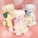 出産祝い おむつキャンディー 選べるぬいぐるみ はんかち ぬいぐるみ スタイ ピンク ブルー クリーム ベビーギフト