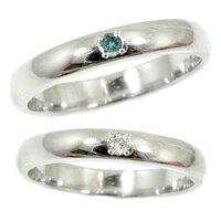 【送料無料】甲丸ペアリング結婚指輪一粒ダイヤダイヤモンドブルーダイヤモンドホワイトゴールドk18結婚式18金ダイヤストレートカップル