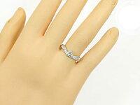 【送料無料】V字ペアリングハードプラチナ950結婚指輪マリッジリングプラチナ一粒ダイヤモンドpt950結婚式ウェーブリングダイヤカップル