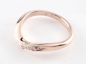 ペアリング V字 結婚指輪 ダイヤモンド マリッジリング ピンクゴールドk18 結婚式 ウェーブリング ダイヤ 18金 カップル 贈り物 誕生日プレゼント ギフト ファッション パートナー