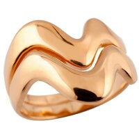 ペアリング結婚指輪マリッジリングピンクゴールドk18V字結婚式18金ウェーブリングカップルブライダルジュエリーウエディング