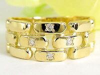 【送料無料】結婚指輪マリッジリングペアリングダイヤダイヤモンド4石イエローゴールドk18ハンドメイド結婚式18金ストレートカップル