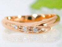 ペアリングダイヤモンドピンクゴールドk18結婚指輪マリッジリング甲丸結婚式18金ダイヤカップルブライダルジュエリーウエディング