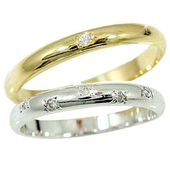 【送料無料】結婚指輪 マリッジリング ペアリング ホワイトゴールドk18イエローゴールドk18 ダイヤ ダイヤモンド 指輪 結婚式 18金 ダイヤ ストレート カップル 2.3 贈り物 誕生日プレゼント ギフト ファッション