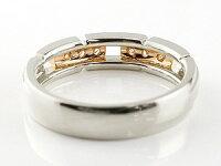 【送料無料】ペアリング結婚指輪ダイヤモンドマリッジリングプラチナピンクゴールドk18コンビリングダイヤモンドリング幅広結婚式人気ダイヤ18金ストレート