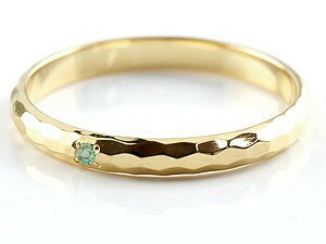結婚指輪 ペアリング エメラルド イエローゴールドk18 人気 マリッジリング 18金 結婚式 シンプル ストレート カップル 贈り物 誕生日プレゼント ギフト ファッション パートナー