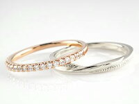 【送料無料】ペアリング結婚指輪マリッジリングハーフエタニティダイヤモンドピンクゴールドk10ホワイトゴールドk1010金コンビ極細華奢ストレートペアリィー
