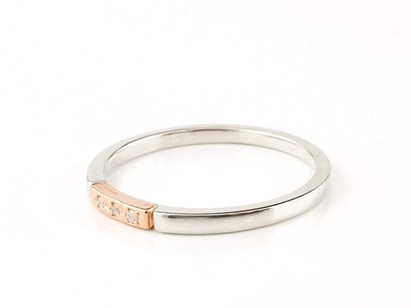 結婚指輪  マリッジリング ペアリング プラチナ ピンクゴールドk10 ダイヤモンド スイートペアリィー 結び リング pt900 10金 華奢 ストレート 地金リング コンビ ファッション パートナー