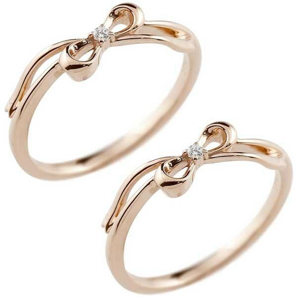 レディース ペアリング ピンキーリング リボン りぼん ピンクゴールドk18 リング ダイヤモンド シンプル 指輪 華奢 重ね付け 指輪 k18 アンティーク トラスト