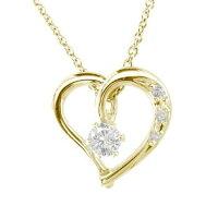 【送料無料】一粒ダイヤモンドネックレスオープンハートハートイエローゴールドk18チェーン人気18金ダイヤ
