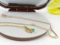 【送料無料】エメラルドダイヤモンドペンダントネックレスイエローゴールドK18羽チェーン人気18金ダイヤ