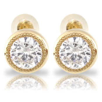 メンズ 鑑定書付き ダイヤモンドピアス ミル打ち 一粒 大粒 ソリティア イエローゴールドk18 スタッドピアス 18金 天然石ダイヤ 男性用 宝石 ファッション エンゲージリングのお返し