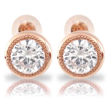 メンズ 鑑定書付き ダイヤモンドピアス VSクラス ミル打ち 一粒 大粒 1.0ct ソリティア ピンクゴールドk18 スタッドピアス 18金 天然石ダイヤ 宝石 ファッション エンゲージリングのお返し