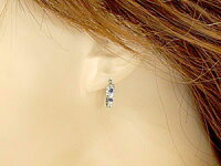 【送料無料】サファイアダイヤモンドピアスフープピアス9月誕生石ホワイトゴールドk1818金天然石ダイヤ