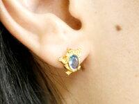 【送料無料】カエルピアスブルートパーズ蛙スタッドピアスイエローゴールドk1811月誕生石18金天然石