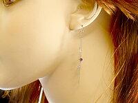 【送料無料】ロングピアスダイヤモンドアメジストホワイトゴールドk18チェーン2月誕生石ピアス揺れる18金天然石ダイヤチェーン