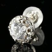 ピアスプラチナ鑑定書付片耳ピアスダイヤモンドプラチナ大粒ダイヤ取り巻きダイヤ送料無料