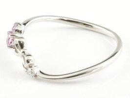 【送料無料】リボンリングピンクサファイアダイヤモンドホワイトゴールドk18ピンキーリング指輪華奢リング重ね付け18金レディース9月誕生石