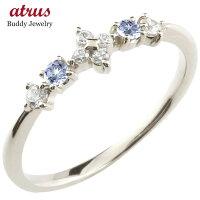 【送料無料】フラワー花シルバーリングタンザナイトダイヤモンドピンキーリング指輪華奢リング重ね付けsvレディース12月誕生石