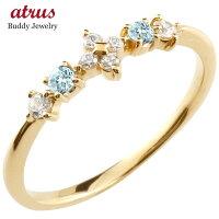 【送料無料】フラワー花リングブルートパーズダイヤモンドイエローゴールドk10ピンキーリング指輪華奢リング重ね付け10金レディース11月誕生石
