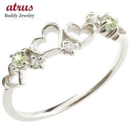 ダイヤモンド オープンハート シルバーリング ペリドット 指輪 ピンキーリング 華奢リング 重ね付け sv レディース 8月誕生石 宝石 送料無料 人気