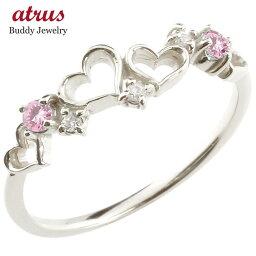 ダイヤモンド オープンハート プラチナリング ピンクサファイア 指輪 ピンキーリング 華奢リング 重ね付け pt900 9月誕生石 宝石 送料無料 LGBTQ 男女兼用